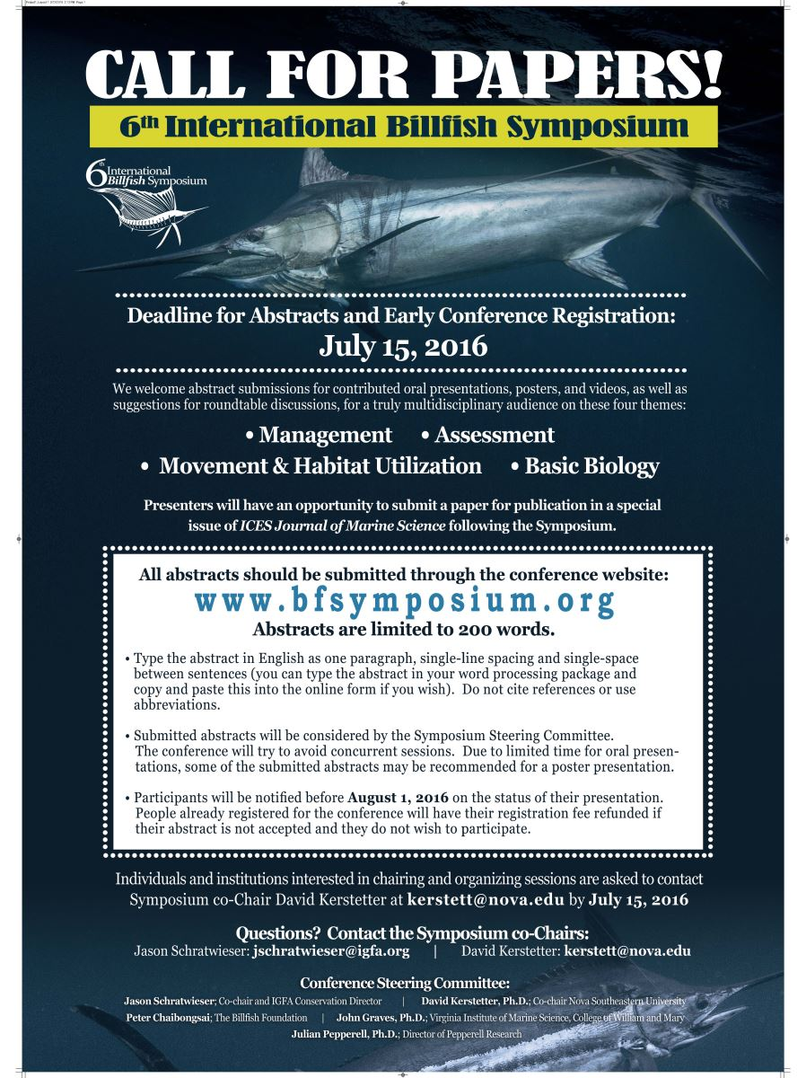 6th International Billfish Symposium Call for Papers